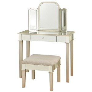 Hollywood Glamour Makeup Vanity Set with Trifold Mirror and Stool