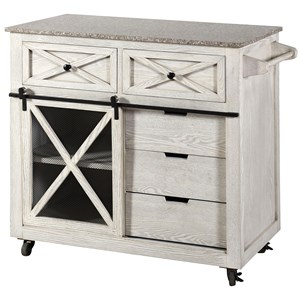 Farmhouse Kitchen Island with Casters and Granite Top