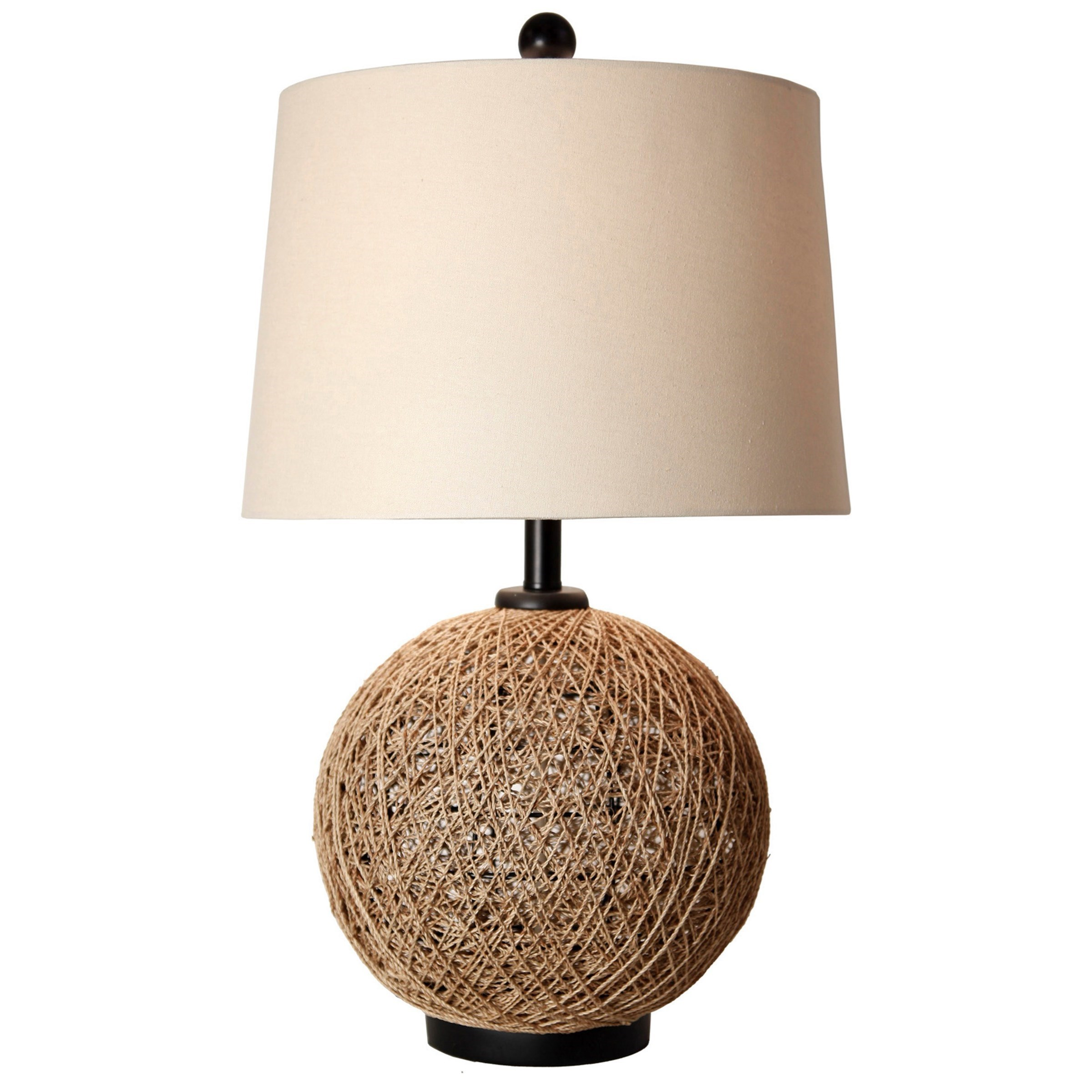 Lamps Woven Natural Rattan Ball Table Lamp by StyleCraft at Wilcox Furniture