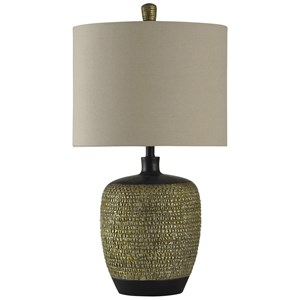 Gold and Black Barrel Lamp
