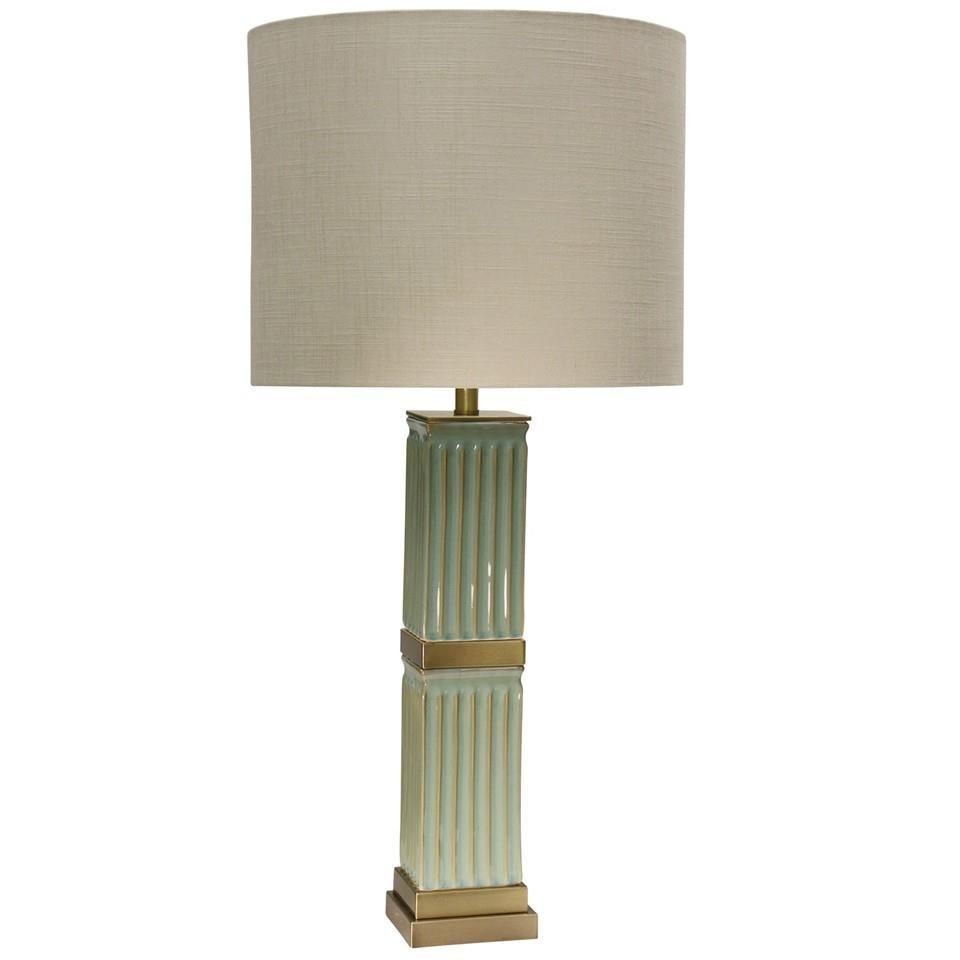 Lamps Blue Ceramic Column Table Lamp at Ruby Gordon Home