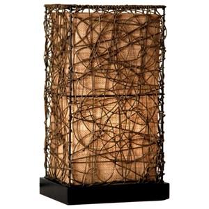Rectangular Uplight with Brown Rattan String Overlay