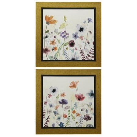 Wall Décor Set of Two Floral Prints by StyleCraft at Wilcox Furniture
