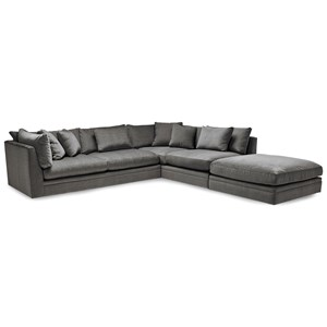 2 Pce Sectional Sofa with Scattered Back Pillows - Ottoman Sold Separate