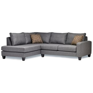 Casual Two Piece Sectional Sofa with LAF Chaise Return