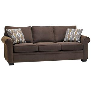 Casual Styled Stationary Sofa with Rounded Arms and Wooden Feet