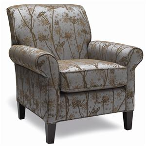 Traditional Accent Chair with Rolled Arms and Wooden Legs