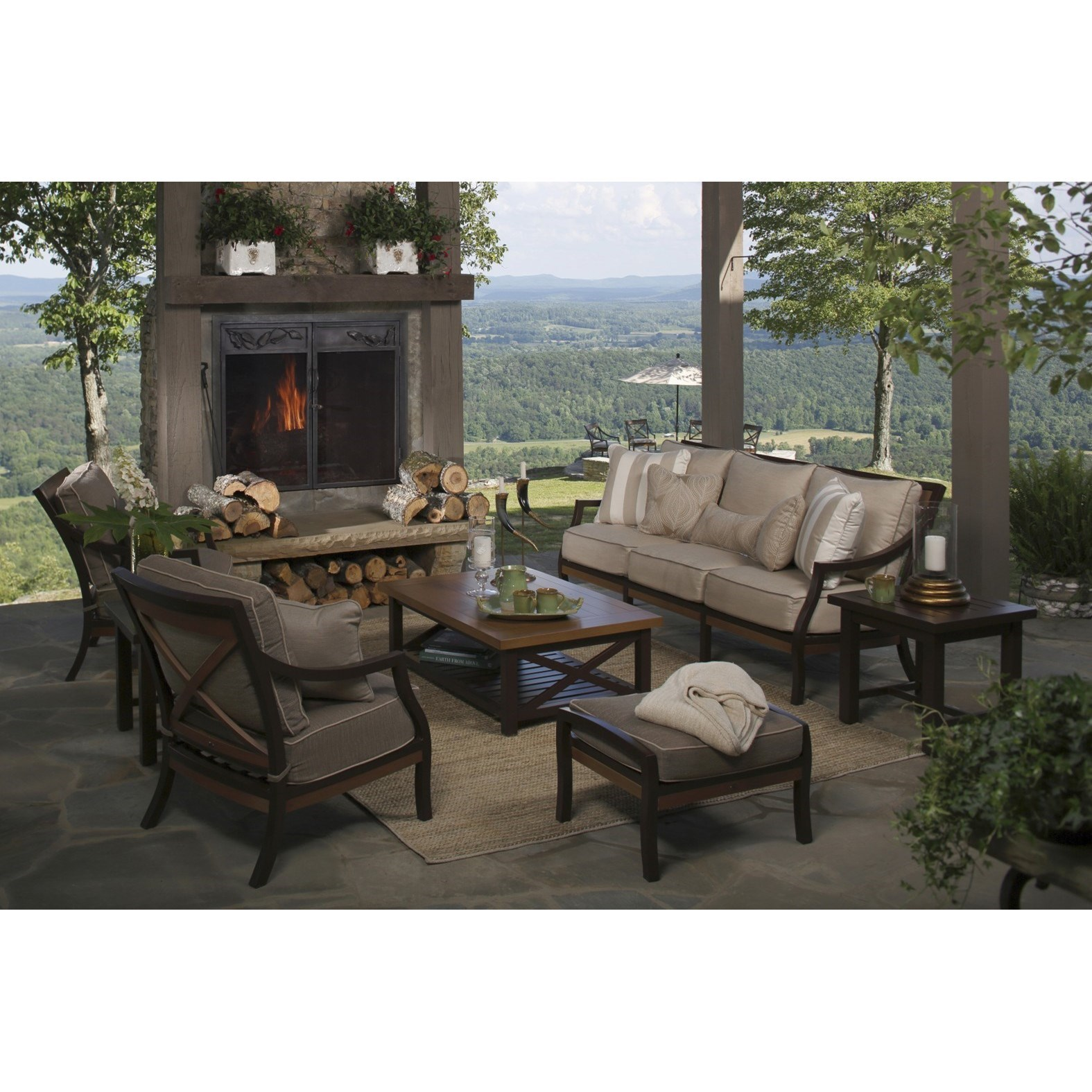 Belize Outdoor Conversation Set by Summer Classics at Malouf Furniture Co.
