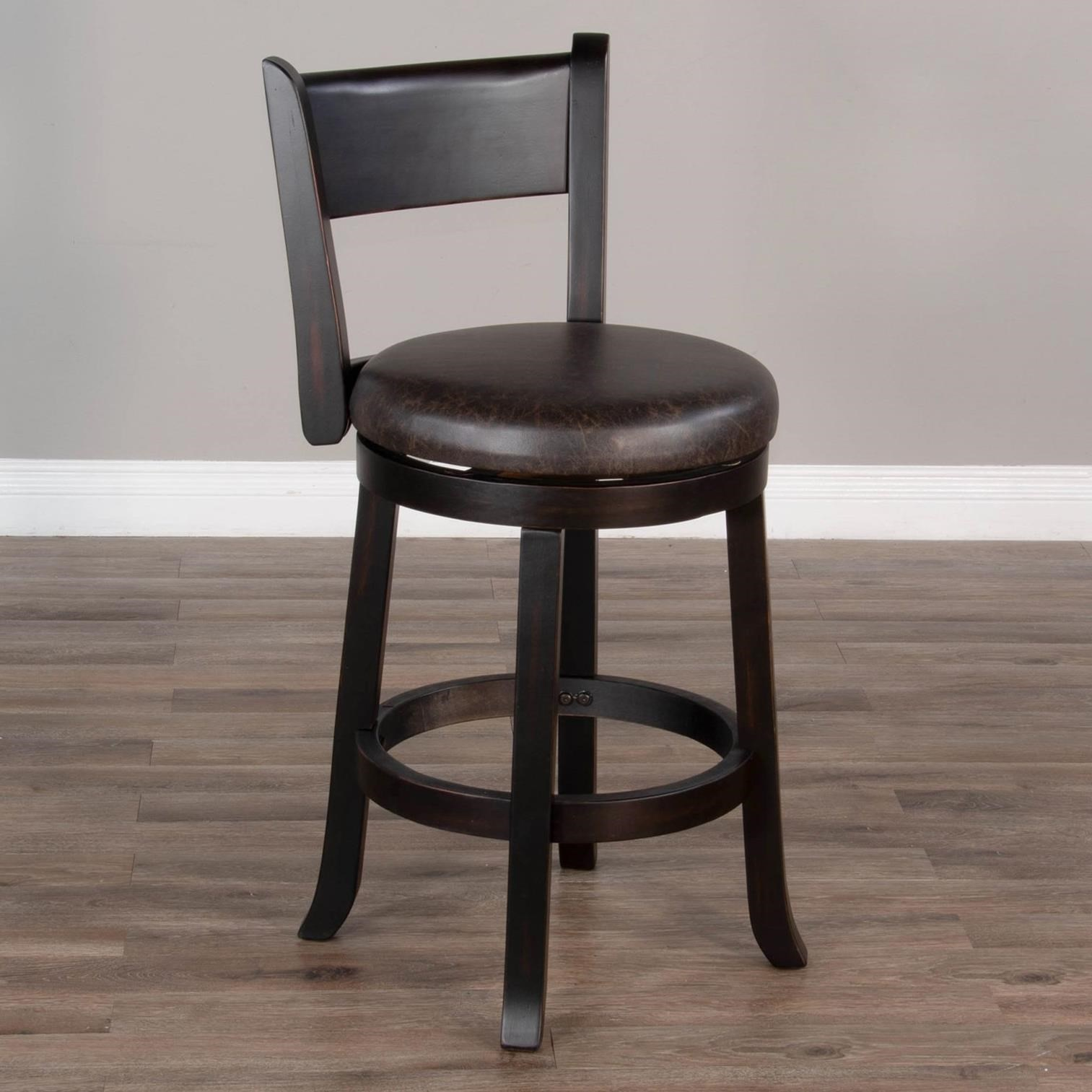 """1646 24""""H Swivel Barstool, Cushion Seat & Back by Sunny Designs at Powell's Furniture and Mattress"""