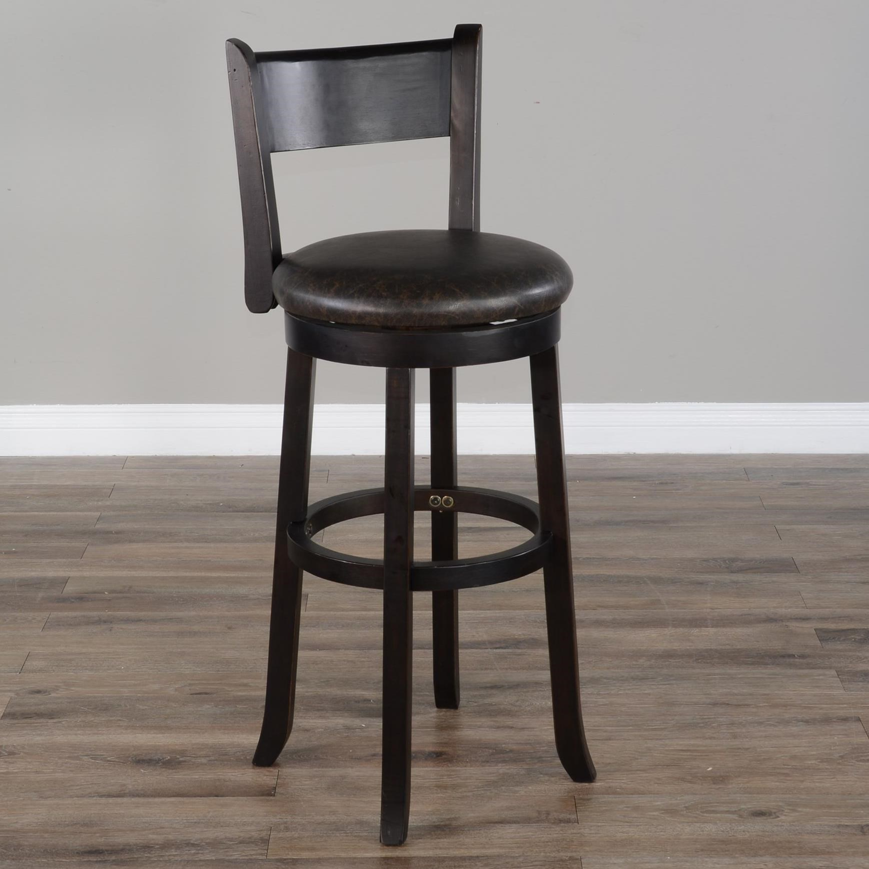 """1646 30""""H Swivel Barstool, Cushion Seat & Back by Sunny Designs at Wayside Furniture"""