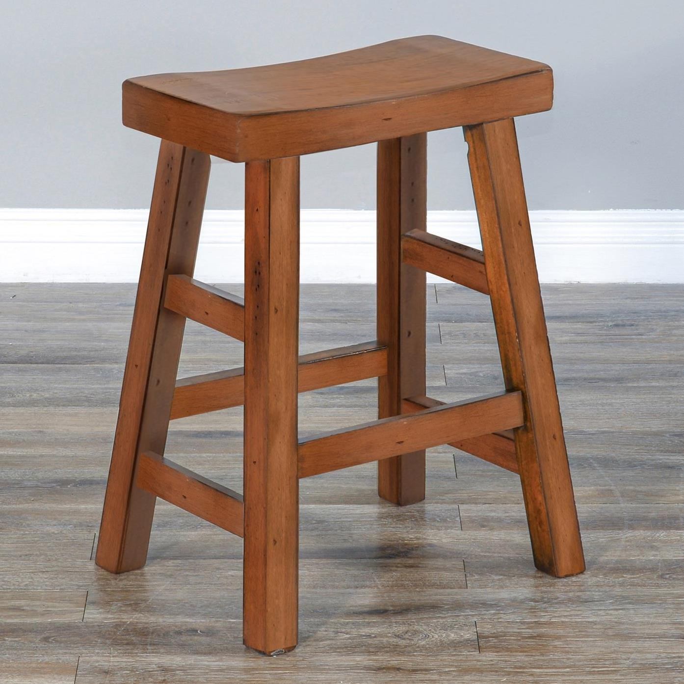 """1768 24""""H Saddle Seat Stool, Wood Seat by Sunny Designs at Sparks HomeStore"""