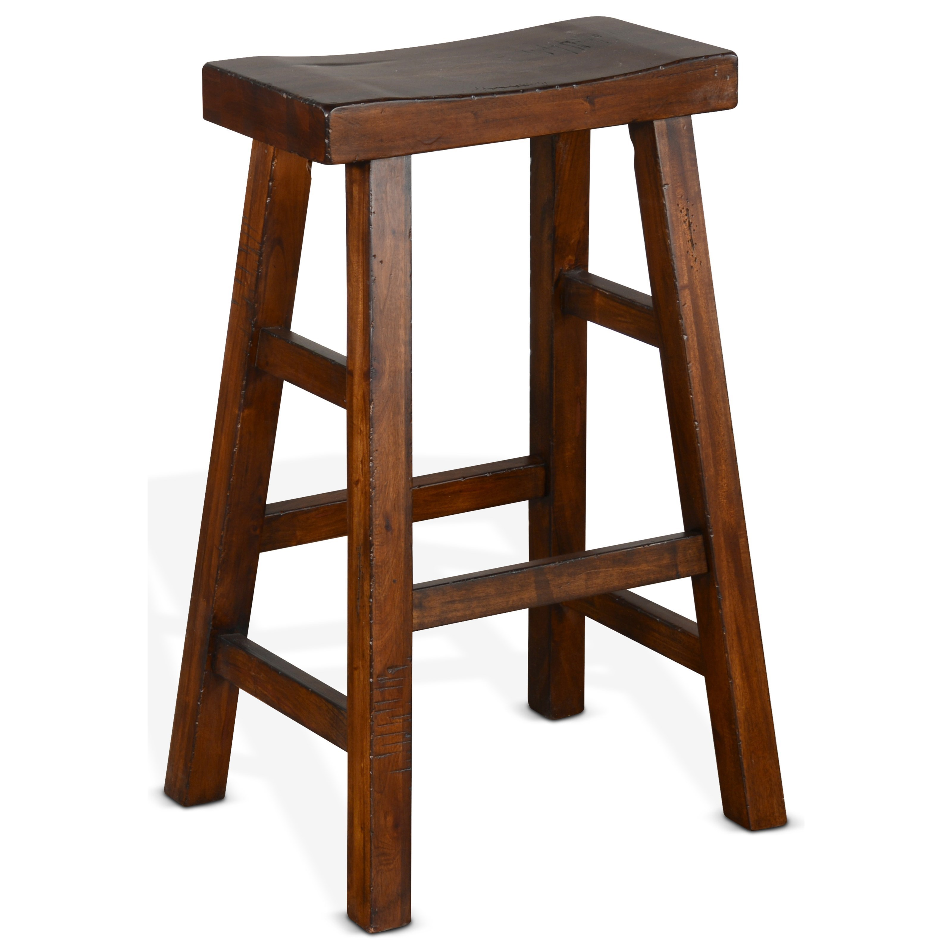 """1768 30""""H Saddle Seat Stool, Wood Seat by Sunny Designs at Fashion Furniture"""