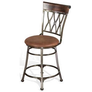 """24"""" Contemporary Metal Swivel Barstool with Cushion Seat"""