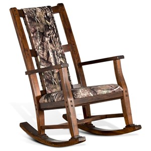 Transitional Rocking Chair with Mossy Oak Cushion Seat and Back