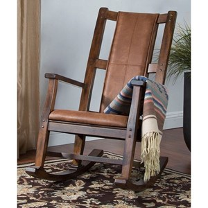 Transitional Rocking Chair with Rustic Micro-Fiber Cushion Seat and Back