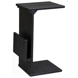 Solid Wood Mahogany Chairside Table w/ Magazine Rack