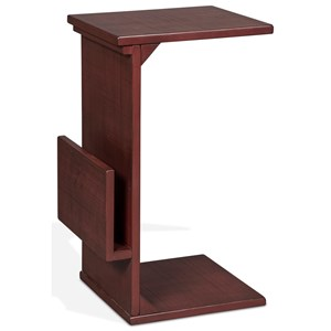 Solid Wood Mahogany Chairside Table with Magazine Rack