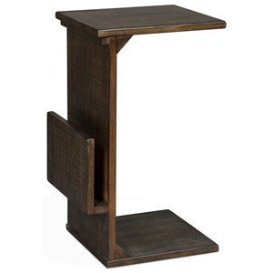 Solid Wood Mahogany Chairside Table w/ Magazine Rack