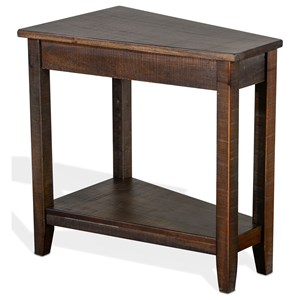 Wedge Chair Side Table with Lower Shelf