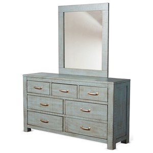 Rustic 7 Drawer Dresser and Mirror Set with Weathered Finish