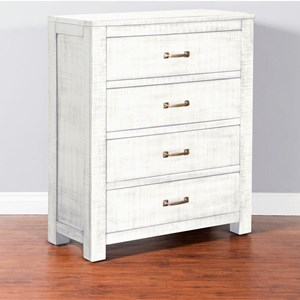 Rustic 4 Drawer Chest with Weathered Finish