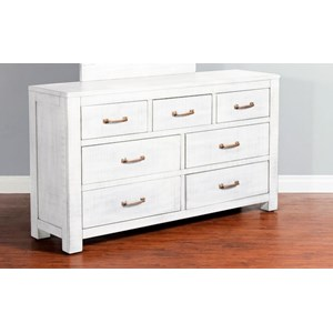 Rustic 7 Drawer Dresser with Weathered Finish