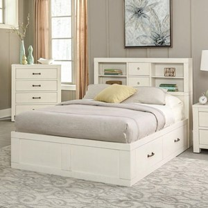 Rustic Twin Captain's Bookcase Storage Bed with Cord Management