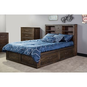 Rustic Full Captain's Bookcase Storage Bed with Oversized Drawers