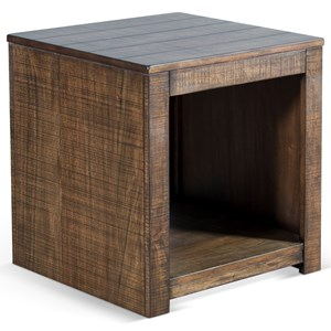 Rustic Solid Wood Mahogany End Table