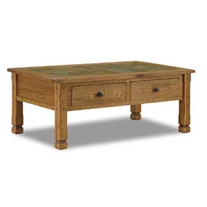 Rustic Oak Coffee Table with Slate Top