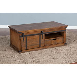 Rustic Barn Door Coffee Table with Casters