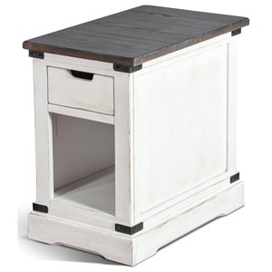 Rustic Chair Side Table with Open Shelf
