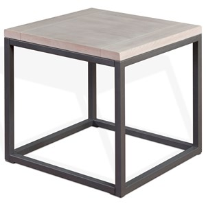 Brushed Oak Square End Table with Box Frame Metal Base