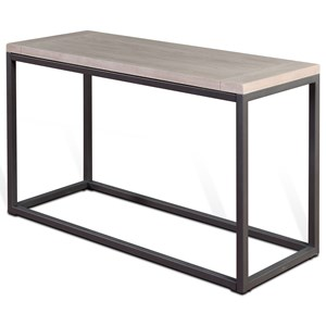 Brushed Oak Table Top Sofa/Console Table with Box Frame Metal Base