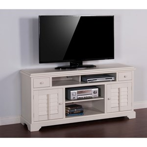 "Transitional 64"" TV Console with Shutter Doors"