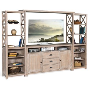 "Rustic 66"" Entertainment Wall with Open Shelving"