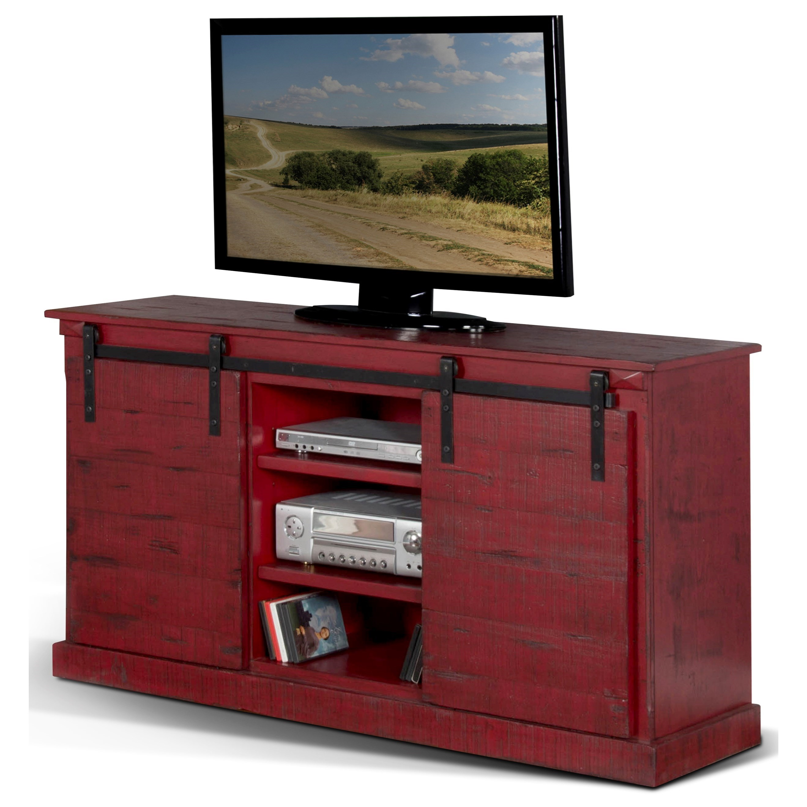 """3577 65"""" TV Console w/ Barn Doors by Sunny Designs at Stoney Creek Furniture"""