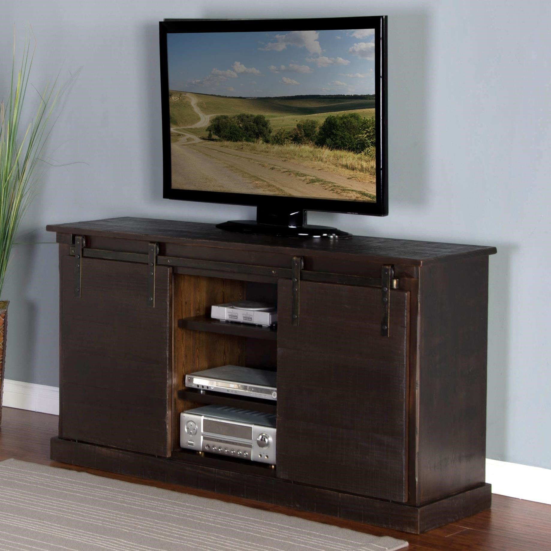 "3577 65"" TV Console w/ Barn Doors by Sunny Designs at Furniture and ApplianceMart"