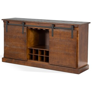"""65"""" TV Stand w/ Wine Rack & Barn Door"""