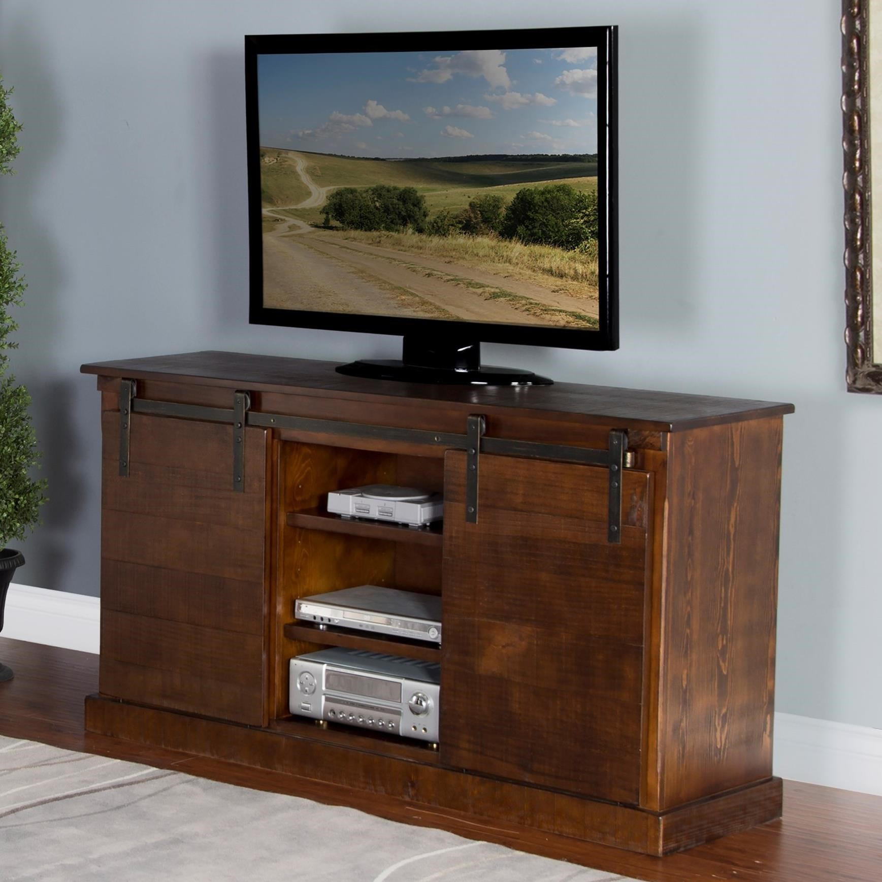 """3577 65"""" TV Console w/ Barn Doors by Sunny Designs at Johnny Janosik"""