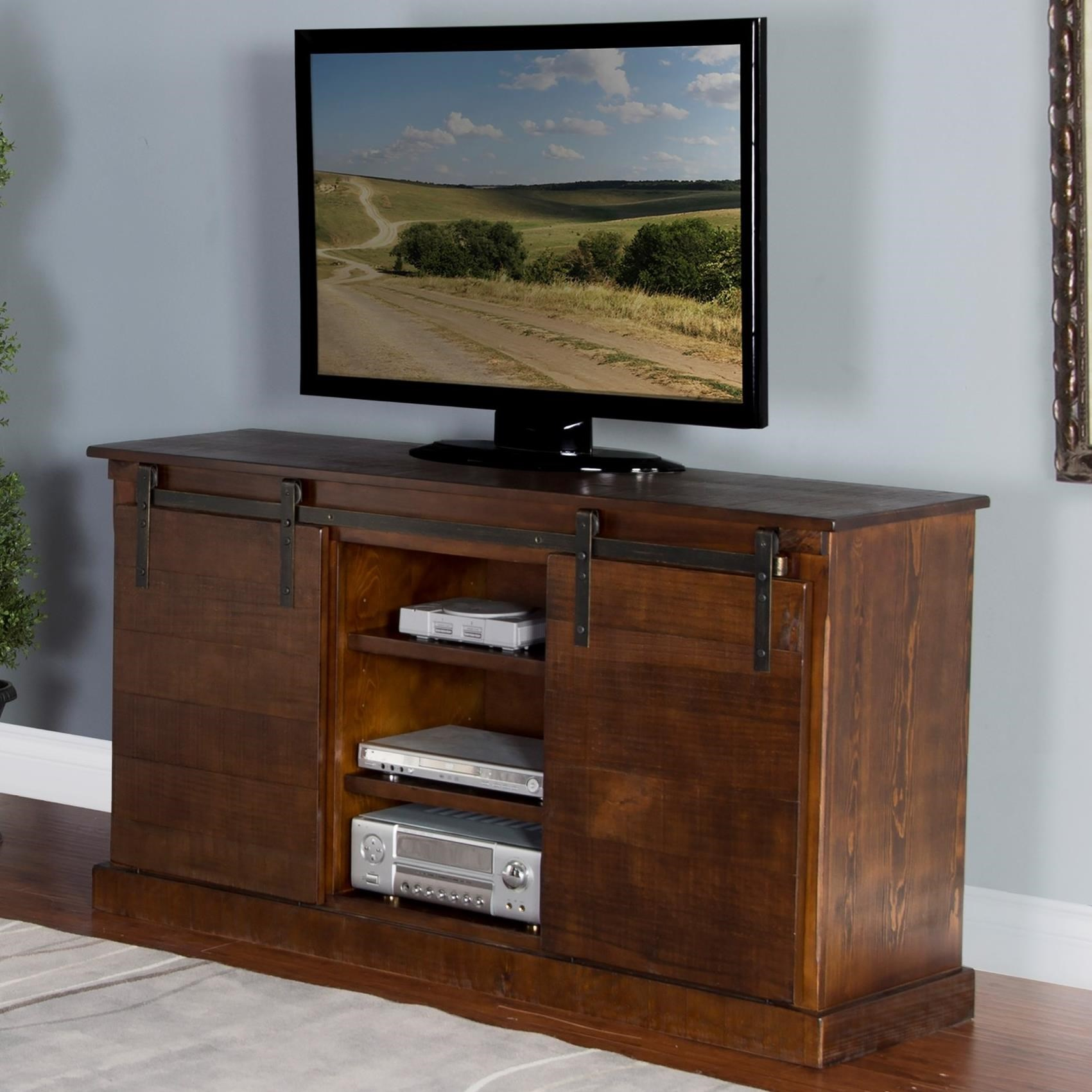 "3577 65"" TV Console w/ Barn Doors by Sunny Designs at Miller Home"