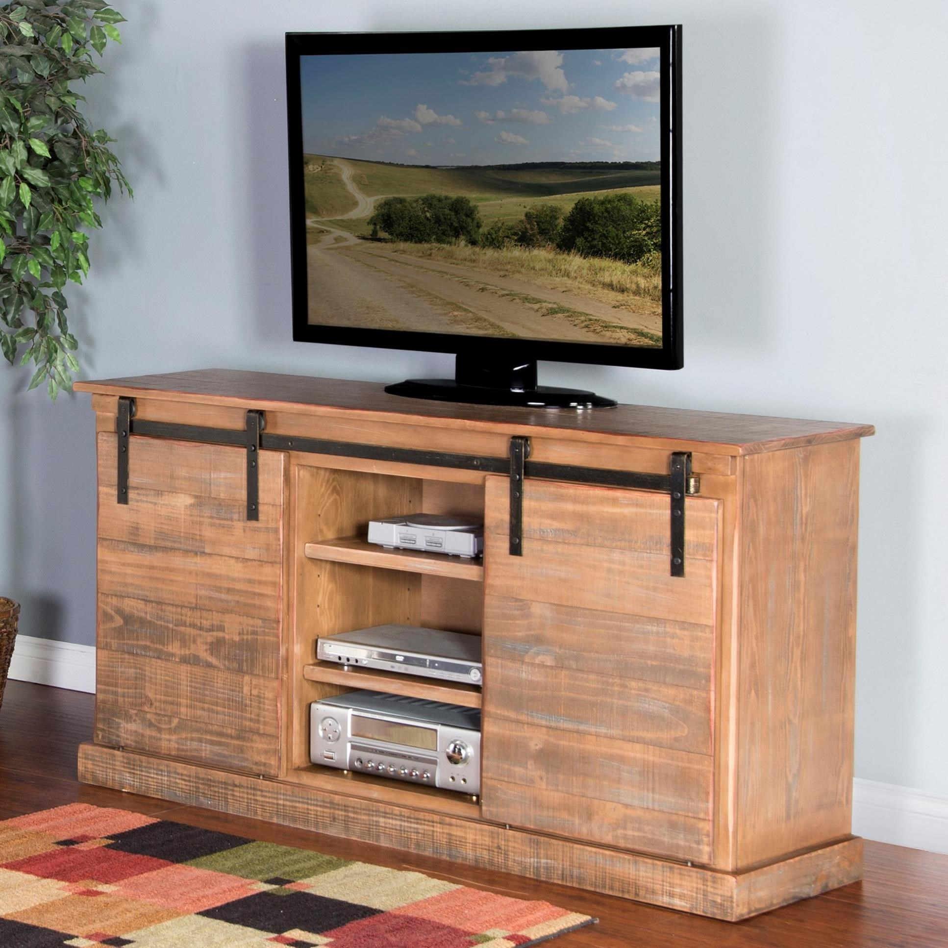 "3577 65"" TV Console w/ Barn Doors by Sunny Designs at Fashion Furniture"