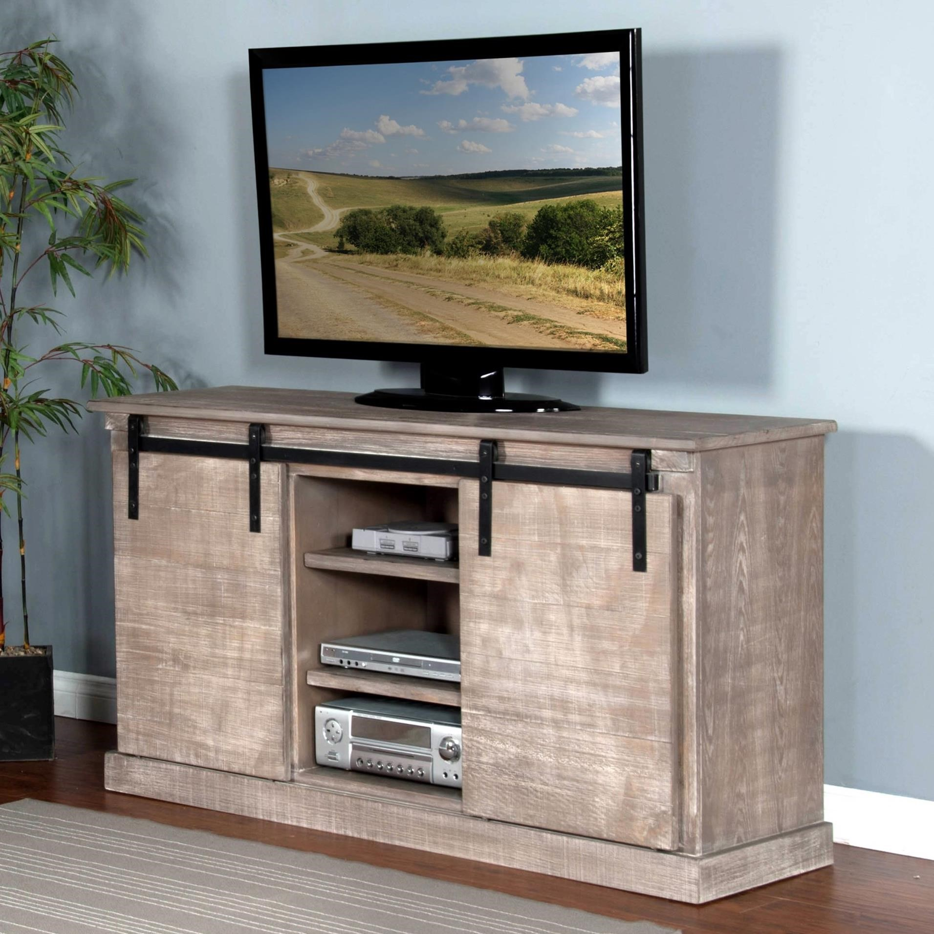 "3577 65"" TV Console w/ Barn Doors by Sunny Designs at Factory Direct Furniture"