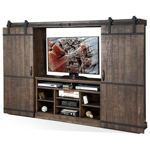 Rustic Barn Door Entertainment Wall