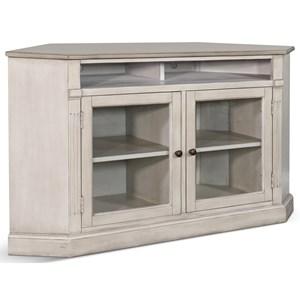 Corner TV Stand with Glass Doors