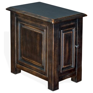 Chair Side Table with Door in Weathered Black Finish