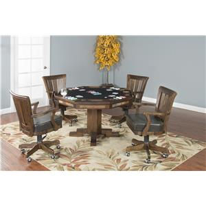 5-Piece Game Table with 4 Castered Chairs
