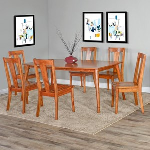 Mid-Century Modern 7 Piece Table and Chair Set