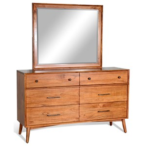 Mid-Century Modern Dresser and Mirror Combination with Felt-Lined Top Drawers