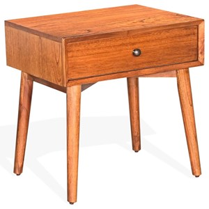Mid-Century Modern Nightstand with Felt-Lined Drawer